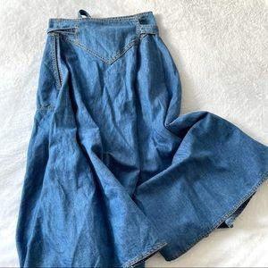 Anthro Ottod'Ame jean wrap skirt midi Sz S (Б2)